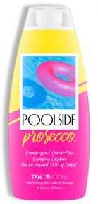 Poolside Prosecco Streak-free/ Stain-Free Bronzing Cocktail for an instant POP of Color! Champagne infused soft tanning butters bathe the skin in superior hydration while providing a more toned and tightened appearance. This instant bronzing formula will give you that fun in the sun result without streaking or staining. It's time to dive deep for the color you seek, so take a dip into Poolside Prosecco™