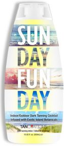 Sun Day Fun Day™ Dark Tanning Cocktail Infused with Exotic Island Botanicals Sun Day Fun Day™! This dark activator can be used in the bed, or outside for a Sun Day Fun Day™! Blended with rich natural oils, as well as Sea Kelp and Pineapple extracts, this tanning cocktail will ensure your Sunday Fundays are full of palm trees and 80 degrees, good times and no tan lines! Go ahead and weekend on!