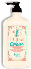 Coral Colada™ Skin Quenching & Replenishing After Sun Daily Moisturizer This ultra-replenishing formula is ideal for anytime your skin needs extra hydration. Coral Colada™ utilizes a tropical cocktail of Monoi Butters, Coconut Oils and Acai Berry extracts infused in an Aloe Vera based crème designed for smooth and soft long lasting hydration.